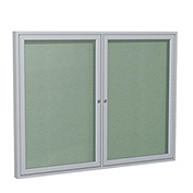 "Ghent® 2 Door Enclosed Vinyl Bulletin Board, Mint w/Silver Frame, 60""W x 48""H"