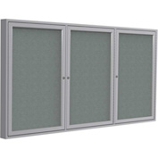 "Ghent® 3 Door Enclosed Fabric Bulletin Board, Gray Fabric/Silver Frame, 72""W x 36""H"