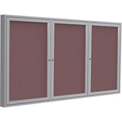 "Ghent® 3 Door Enclosed Fabric Bulletin Board, Merlot Fabric/Silver Frame, 72""W x 36""H"