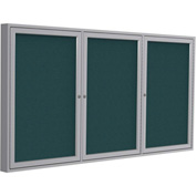 "Ghent® 3 Door Enclosed Fabric Bulletin Board, Blue Fabric/Silver Frame, 72""W x 36""H"