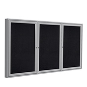 """Ghent® 3 Door Enclosed Recycled Rubber Bulletin Board, 72""""W x36""""H, Black w/Silver Frame"""