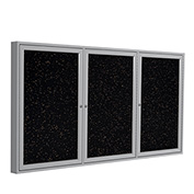"Ghent® 3 Door Enclosed Recycled Rubber Bulletin Board, 72""W x36""H, Tan Speckled w/Silver Frame"