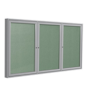 "Ghent® 3 Door Enclosed Vinyl Bulletin Board, Mint w/Silver Frame, 72""W x 36""H"