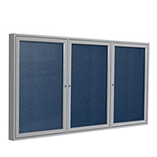 "Ghent® 3 Door Enclosed Vinyl Bulletin Board, Navy w/Silver Frame, 72""W x 36""H"