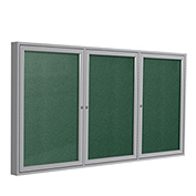 "Ghent® 3 Door Enclosed Vinyl Bulletin Board, Spruce w/Silver Frame, 72""W x 36""H"