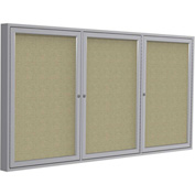 "Ghent® 3 Door Enclosed Fabric Bulletin Board, Beige Fabric/Silver Frame, 72""W x 48""H"