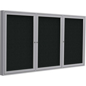"Ghent® 3 Door Enclosed Fabric Bulletin Board, Black Fabric/Silver Frame, 72""W x 48""H"