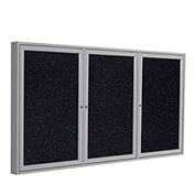 "Ghent® 3 Door Enclosed Recycled Rubber Bulletin Board, 96""W x48""H, Confetti w/Silver Frame"