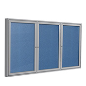 "Ghent® 3 Door Enclosed Vinyl Bulletin Board, Ocean w/Silver Frame, 96""W x 48""H"