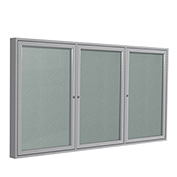 "Ghent® 3 Door Enclosed Vinyl Bulletin Board, Silver w/Silver Frame, 96""W x 48""H"