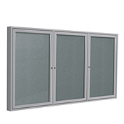 "Ghent® 3 Door Enclosed Vinyl Bulletin Board, Stone w/Silver Frame, 96""W x 48""H"