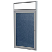 "Ghent® 1 Door Enclosed Vinyl Bulletin Board w/Illuminated Header, Navy w/Silver Frame, 30""x36"""