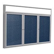 "Ghent® 3 Door Enclosed Vinyl Bulletin Board w/Header, Navy w/Silver Frame, 96""W x 48""H"
