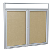"Ghent® 2 Door Enclosed Vinyl Bulletin Board w/Header, Caramel w/Silver Frame, 48""W x 36""H"