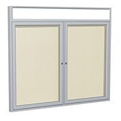 "Ghent® 2 Door Enclosed Vinyl Bulletin Board w/Header, Ivory w/Silver Frame, 60""W x 36""H"
