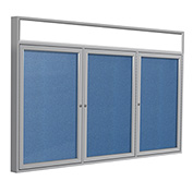 "Ghent® 3 Door Enclosed Vinyl Bulletin Board w/Header, Ocean w/Silver Frame, 72""W x 36""H"