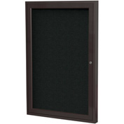 "Ghent® 1 Door Enclosed Fabric Bulletin Board, Black Fabric/Bronze Frame, 18""W x 24""H"