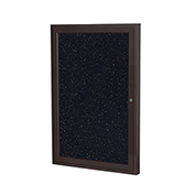 "Ghent® 1 Door Enclosed Recycled Rubber Bulletin Board, 18""W x24""H, Confetti w/Bronze Frame"