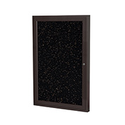 "Ghent® 1 Door Enclosed Recycled Rubber Bulletin Board, 18""W x24""H, Tan Speckled w/Bronze Frame"