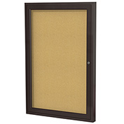 "Ghent® 1 Door Enclosed Bulletin Board, Bronze Frame, 24""W x 36""H"