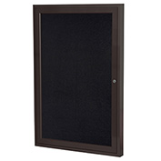 "Ghent® 1 Door Enclosed Recycled Rubber Bulletin Board, 24""W x36""H, Black w/Bronze Frame"