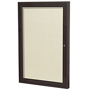 "Ghent® 1 Door Enclosed Vinyl Bulletin Board, Ivory w/Bronze Frame, 24""W x 36""H"