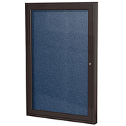 "Ghent® 1 Door Enclosed Vinyl Bulletin Board, Navy w/Bronze Frame, 24""W x 36""H"