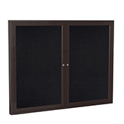 "Ghent® 2 Door Enclosed Recycled Rubber Bulletin Board, 48""W x36""H, Black w/Bronze Frame"