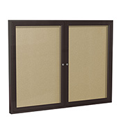 "Ghent® 2 Door Enclosed Indoor/Outdoor Vinyl Bulletin Board - 36"" x 48"" - Caramel"