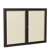 "Ghent® 2 Door Enclosed Vinyl Bulletin Board, Ivory w/Bronze Frame, 48""W x 36""H"