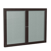 "Ghent® 2 Door Enclosed Vinyl Bulletin Board, Silver w/Bronze Frame, 48""W x 36""H"