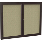 "Ghent® 2 Door Enclosed Fabric Bulletin Board, Beige Fabric/Bronze Frame, 60""W x 36""H"