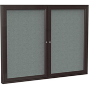 "Ghent® 2 Door Enclosed Fabric Bulletin Board, Gray Fabric/Bronze Frame, 60""W x 36""H"