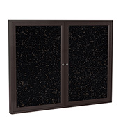 "Ghent® 2 Door Enclosed Recycled Rubber Bulletin Board, 60""W x36""H, Tan Speckled w/Bronze Frame"