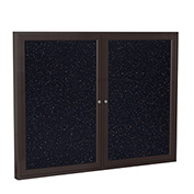 "Ghent® 2 Door Enclosed Recycled Rubber Bulletin Board, 60""W x48""H, Confetti w/Bronze Frame"