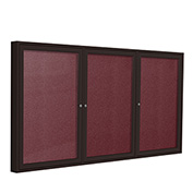 "Ghent® 3 Door Enclosed Vinyl Bulletin Board, Berry w/Bronze Frame, 72""W x 36""H"