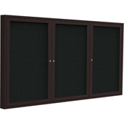"Ghent® 3 Door Enclosed Fabric Bulletin Board, Black Fabric/Bronze Frame, 72""W x 48""H"
