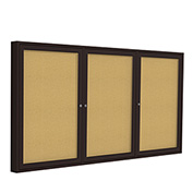 "Ghent® 3 Door Enclosed Bulletin Board, Bronze Frame, 72""W x 48""H"