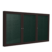 "Ghent® 3 Door Enclosed Vinyl Bulletin Board, Black w/Bronze Frame, 72""W x 48""H"