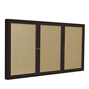 Ghent® 3 Door Enclosed Indoor/Outdoor Vinyl Bulletin Board - 4' x 8' - Caramel