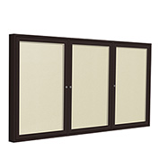 "Ghent® 3 Door Enclosed Vinyl Bulletin Board, Ivory w/Bronze Frame, 96""W x 48""H"