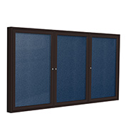 "Ghent® 3 Door Enclosed Vinyl Bulletin Board, Navy w/Bronze Frame, 96""W x 48""H"