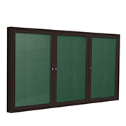 "Ghent® 3 Door Enclosed Vinyl Bulletin Board, Spruce w/Bronze Frame, 96""W x 48""H"