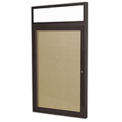 "Ghent® 1 Door Enclosed Vinyl Bulletin Board w/Header, Caramel w/Bronze Frame, 24""W x 36""H"