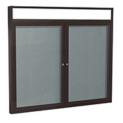 "Ghent® 2 Door Enclosed Vinyl Bulletin Board w/Header, Stone w/Bronze Frame, 48""W x 36""H"