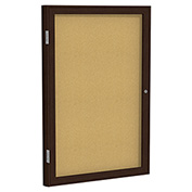 "Ghent® 1 Door Enclosed Bulletin Board, Walnut Frame, 18""W x 24""H"