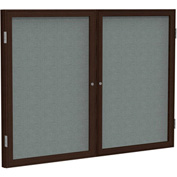"Ghent® 2 Door Enclosed Fabric Bulletin Board, Gray Fabric/Walnut Frame, 48""W x 36""H"