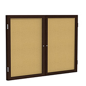 "Ghent® 2 Door Enclosed Bulletin Board, Walnut Frame, 60""W x 36""H"