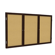 "Ghent® 3 Door Enclosed Bulletin Board, Walnut Frame, 96""W x 48""H"