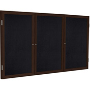 Ghent® 3 Door Enclosed Recycled Rubber Bulletin Board, 4' x 8', Black w/Walnut Frame